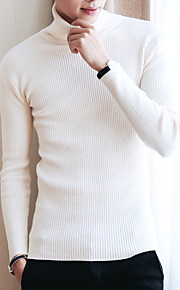 Муж. Однотонный Пуловер Осень Темно синий / Серый / Винный L / XL / XXL