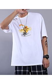 メンズスリムTシャツ - グラフィックラウンドネック