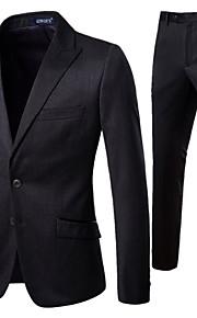 男性用 スーツ, ソリッド ノッチドラペル ポリエステル ブラック XXL / XXXL / XXXXL