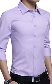 男性用 プラスサイズ シャツ スリム ソリッド