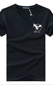 Ανδρικά T-shirt Βαμβάκι Κινούμενα σχέδια Λαιμόκοψη V Στάμπα Βαθυγάλαζο XXXL