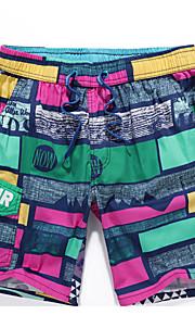 男性用 EU / USサイズ ルビーレッド フクシャ スイミングトランクス ボトムス スイムウェア - カラーブロック XL XXL XXXL ルビーレッド