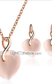 4322eef39e5b Γυναικεία Chrysoberyl μάτι γάτας 3D Κοσμήματα Σετ Καρδιά Στυλάτο, Μοναδικό  Περιλαμβάνω Κρεμαστά Σκουλαρίκια Κρεμαστά Κολιέ