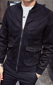 男性用 日常 ベーシック 秋 レギュラー ジャケット, ソリッド シャツカラー 長袖 ポリエステル ブラック / シルバー / キャメル L / XL / XXL