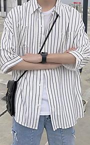 メンズルーズシャツ - ストライプシャツカラー