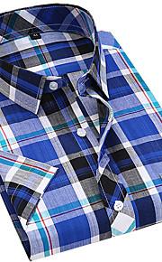 男性用 シャツ スリム カラーブロック / チェック コットン