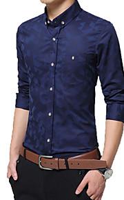 男性用 プラスサイズ シャツ レギュラーカラー ソリッド コットン