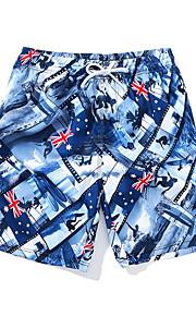 男性用 ブルー スイミングトランクス ボトムス スイムウェア - 幾何学模様 XL XXL XXXL ブルー