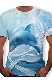 男性用 Tシャツ ラウンドネック 3D コットン