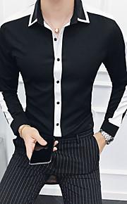 メンズコットンスリムシャツ - ソリッドカラーのクラシックカラー