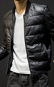 男性用 日常 秋 レギュラー ジャケット, ソリッド スタンド 長袖 ポリエステル ブラック XXL / XXXL / XXXXL