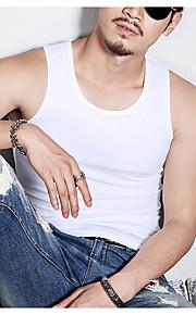 Ανδρικά Αμάνικη Μπλούζα Μονόχρωμο Στρογγυλή Λαιμόκοψη Λευκό XL