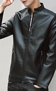 男性用 日常 秋 レギュラー レザージャケット, ソリッド スタンド 長袖 合皮 ブルー / ブラウン / ブラック XXL / XXXL / XXXXL