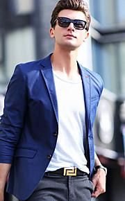 Муж. Блейзер, Однотонный Лацкан с тупым углом Полиэстер Синий XL