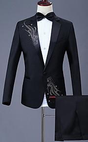 Hombre trajes, Floral Solapa de Pico Poliéster Negro XXL / XXXL / XXXXL