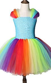 Děti / Toddler Dívčí Sladký / Cute Style Patchwork Síťka Bez rukávů Délka ke kolenům Spandex Šaty