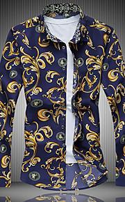 Heren Overhemd Grafisch Marineblauw XXXXL