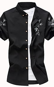 Муж. Рубашка Цветочный принт Черный XXXXL