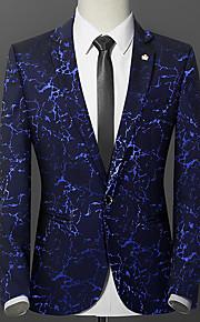 Hombre Blazer, Un Color / Cachemir Solapa de Pico Algodón / Poliéster Azul Piscina / Negro / Rojo XL / XXL / XXXL