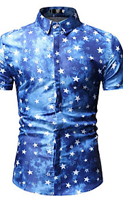 Hombre Camisa A Lunares Azul Piscina XL