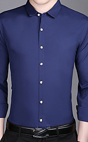 Hombre Camisa Un Color Azul Marino XXL