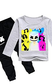 Děti Chlapecké Aktivní / Základní Tisk Dlouhý rukáv Bavlna / Spandex Sady oblečení Fialová