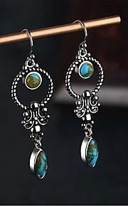 Dámské Modrá Tyrkysová Retro Náušnice - Kruhy Náušnice Vintage příroda Šperky Modrá Pro Svatební Párty Denní 1 Pair