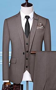 Hombre trajes Solapa de Pico Poliéster Negro / Gris / Marrón claro XXL / XXXL / XXXXL