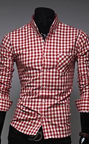 Муж. Рубашка Шахматка Красный XXL