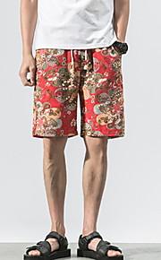 Hombre Básico Shorts Pantalones - Floral Negro