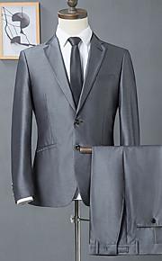 Herrn Anzüge, Solide Hemdkragen Polyester Dunkelgray L / XL / XXL