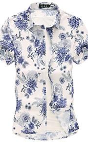Skjorte Herre - Blomstret Grunnleggende Blå XXXXL