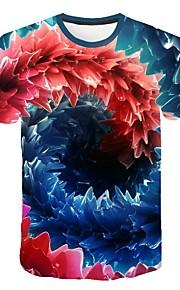 Hombre Talla EU / US Camiseta, Escote Redondo Delgado Geométrico Azul Piscina XXL