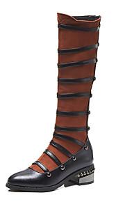 Naisten Stiletto Heel Boots PU Syystalvi Vintage / Englantilainen Bootsit Paksu korko Pyöreä kärkinen Polvisaappaat Niiteillä Musta / Tumman ruskea / Juhlat