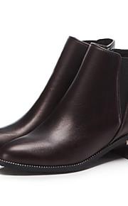 Naisten Sexy Bootsit PU Syystalvi Englantilainen / minimalismi Bootsit Paksu korko Pyöreä kärkinen Nilkkurit Ruskea / Sininen / Juhlat