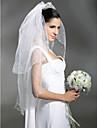 Velos de Boda 2 capas Hasta el codo Velo para cabello corto Recortada Borde en perla 37,4 en (95cm) Tul Blanco MarfilCorte A, evasé,