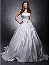 Prințesă Fără Bretele Trenă Capelă Satin Rochie de mireasă cu Eșarfă / Panglică Nasture Pin Cristal Floral de LAN TING BRIDE®