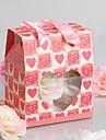 """""""Dragoste dulce"""", geanta cadou cu inima decupaje în formă - roșu (set de 12)"""