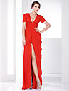 Sheath / Column Plunging Neckline Floor Length Chiffon Formal Evening / Military Ball Dress with Draping Ruched Split Front by TS Couture®