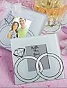 """""""Cu acest inel"""" inele de nunta de sticlă de proiectare fotografie coaster favoarea (2 per set)"""