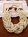 blanc imitation perle strass colliers style feminin classique