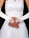 satin / dentelle de mariée doigts des gants de longueur de coude