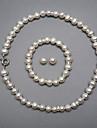 elegant o perla set de bijuterii de apă dulce, inclusiv colier, bratara si cercei
