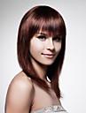 hetteløs lang 100% menneskehår brunt rett hår parykk
