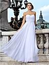 Sheath / Column Sweetheart Floor Length Chiffon Custom Wedding Dresses with Beading Sash / Ribbon Criss-Cross Ruched by LAN TING BRIDE®