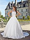 Salon Escote de ilusion Capilla Saten / Encaje sobre tul Vestidos de novia hechos a medida con Cuentas / Apliques por LAN TING BRIDE®