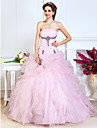 A-Line Ball Gown Princess Strapless Floor Length Organza Prom Formal Evening Quinceanera Sweet 16 Dress with Beading Pick Up Skirt Flower