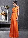 Sheath / Column One Shoulder Floor Length Chiffon Bridesmaid Dress with Draping Pleats Flower by LAN TING BRIDE®