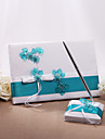 Guest Book Pen Set Satin Floral ThemeWithBowknot