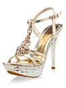 patent läder stilett part / kväll sandaler med strass